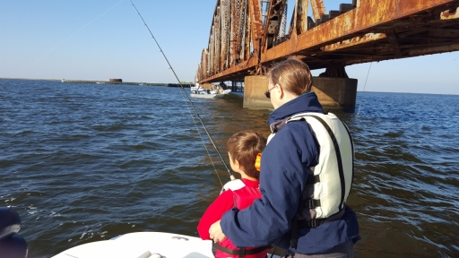 Dylan and Grandmother fishing under Railroad Bridge - 20151011_090630 (1)