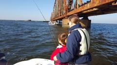 Dylan and Grandmother fishing under Railroad Bridge - 20151011_090630 (1)